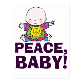 Cartão Postal Bebê bonito da paz da tintura do laço do