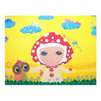 Cartão Postal Bebê do cogumelo de Molly na terra irrisório de