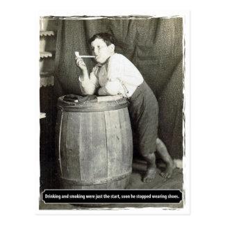 Cartão Postal Beber e fumar eram apenas o começo