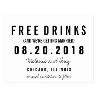 Cartão Postal Bebidas livres engraçadas que Wedding economias as