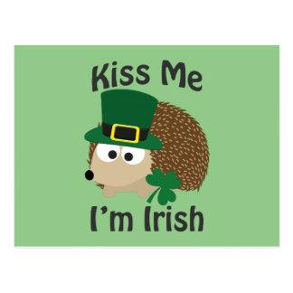 Cartão Postal Beije-me que eu sou ouriço irlandês