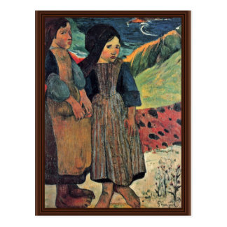 Cartão Postal Beira-mar bretão pequeno por Gauguin Paul (a