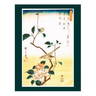 Cartão Postal Belas artes de Hiroshige da camélia e da