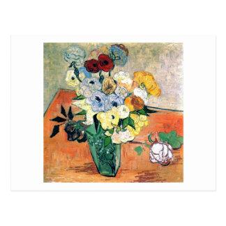 Cartão Postal Belas artes japonesas de Van Gogh das anêmonas dos