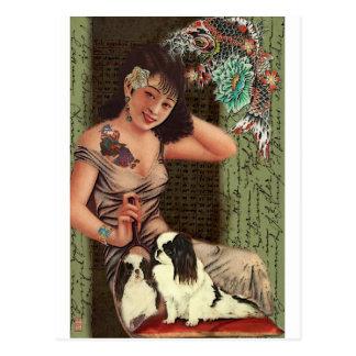 Cartão Postal Beleza de Tattoed do japonês