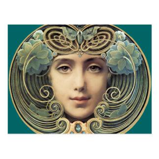 Cartão Postal Beleza feminino de Nouveau do vintage