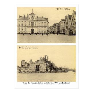 Cartão Postal Bélgica, Ypres - bombardeio WW1