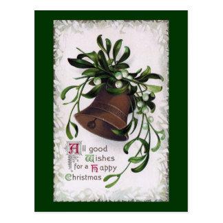Cartão Postal Bell com natal vintage do visco