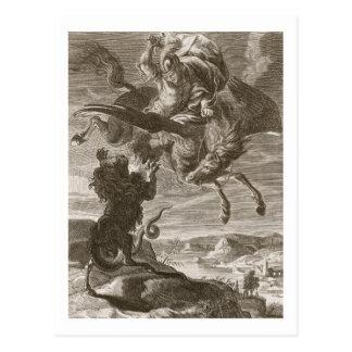 Cartão Postal Bellerophon luta o peixe-rato, 1731 (a gravura)