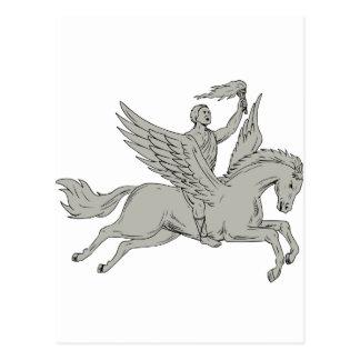 Cartão Postal Bellerophon que monta Pegasus que guardara o