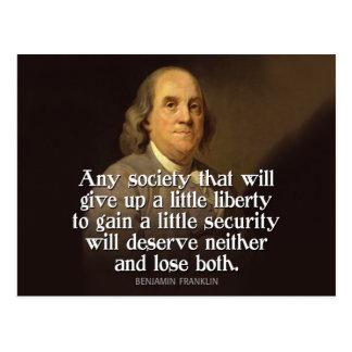 Cartão Postal Ben Franklin: Alguma sociedade que dê acima…