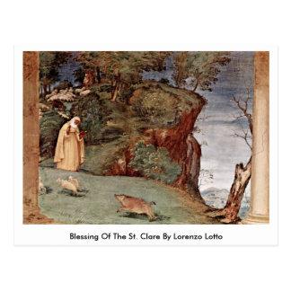 Cartão Postal Bênção do St. Clare por Lorenzo Lotto