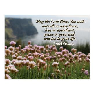 Cartão Postal Bênção irlandesa, amor em seu coração, penhascos