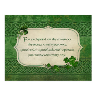 Cartão Postal Bênção irlandesa do trevo do dia de St Patrick