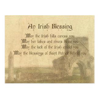 Cartão Postal Bênção irlandesa do vintage