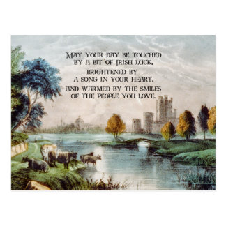 Cartão Postal Bênção irlandesa do vintage e paisagem cénico do