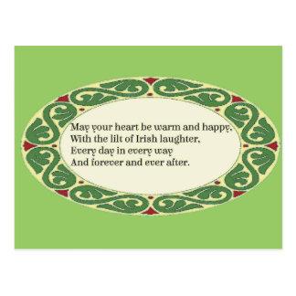 Cartão Postal Bênção irlandesa - o coração esteja morno & feliz