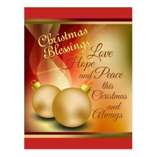 Cartão Postal Bênçãos do Natal, paz da esperança do amor