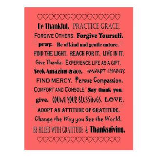 Cartão Postal benevolência e gratitude