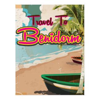 Cartão Postal Benidorm, poster das férias do vintage da espanha