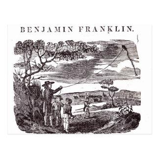 Cartão Postal Benjamin Franklin conduz sua experiência do