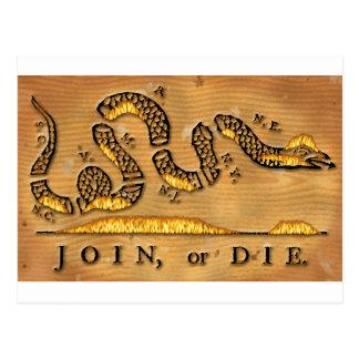 Cartão Postal Benjamin Franklin junta-se ou morre-se desenhos