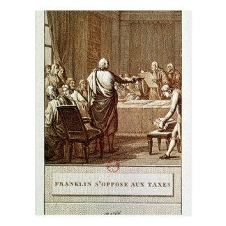 Cartão Postal Benjamin Franklin que apresenta sua oposição
