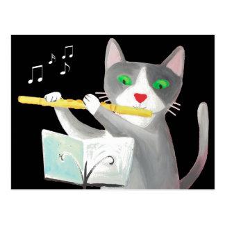Cartão Postal Benny o gato do jogador de flauta