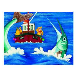 Cartão Postal Betty vai pesca de mar
