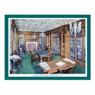 Cartão Postal Biblioteca, hotel Dennis, vintage 1926 de Atlantic