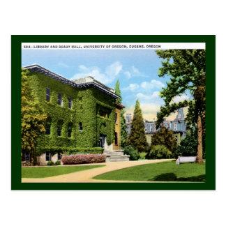 Cartão Postal Biblioteca, universidade de Oregon, vintage de