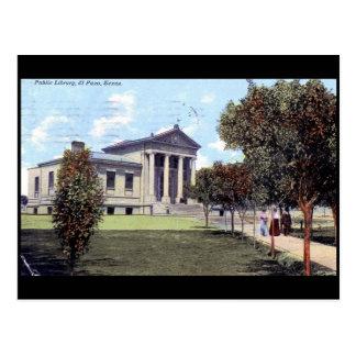 Cartão Postal Biblioteca, vintage 1911 de El Paso, Texas