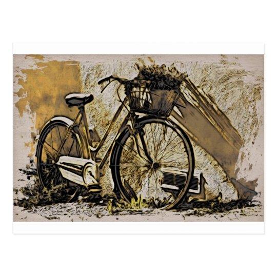 Cartão Postal Bicicleta com cesta de flores