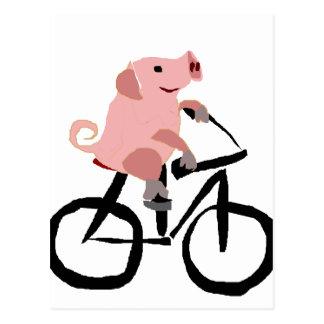 Cartão Postal Bicicleta cor-de-rosa engraçada da equitação do