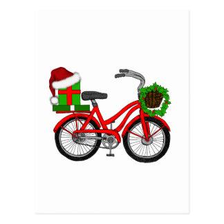 Cartão Postal bicicleta do xmas