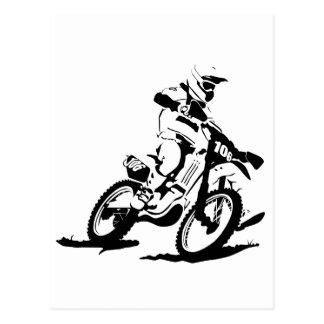 Cartão Postal Bicicleta e cavaleiro simples de Motorcross