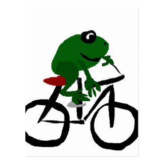 Cartão Postal Bicicleta engraçada da equitação do sapo verde