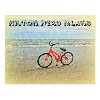 Cartão Postal Bicicleta no chá de Sun na praia de Hilton Head