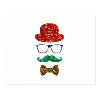 Cartão Postal bigode do hipster do Natal