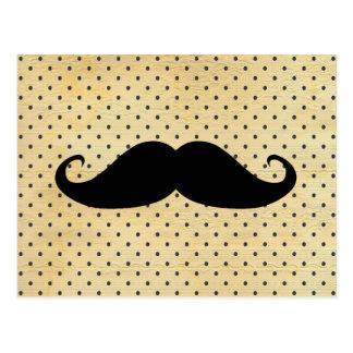 Cartão Postal Bigode preto engraçado em bolinhas do amarelo do