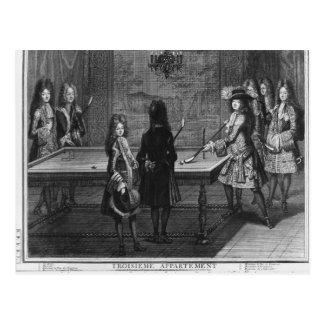 Cartão Postal Bilhar de jogo de Louis XIV com seu irmão