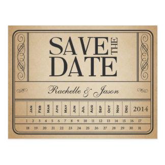 Cartão Postal Bilhete II do vintage -- Salvar a data perfuram