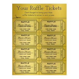 Cartão Postal Bilhetes dourados do Raffle