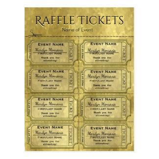 Cartão Postal Bilhetes Glam dourados do Raffle