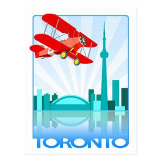 Cartão Postal Biplano canadense sobre o design retro de Toronto