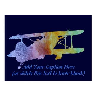 Cartão Postal Biplano do arco-íris