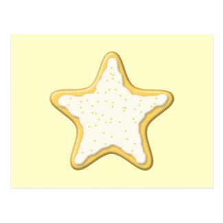 Cartão Postal Biscoito congelado da estrela. Amarelo e creme
