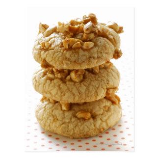 Cartão Postal Biscoitos do amendoim em uma pilha