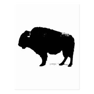 Cartão Postal Bisonte preto & branco do búfalo do pop art