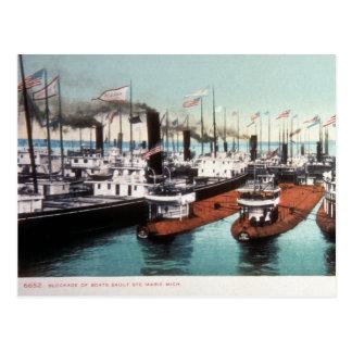 Cartão Postal Bloqueio em Sault Ste Marie - vintage